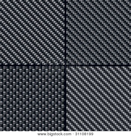 Set of four carbon fiber seamless patterns. Vector Illustration