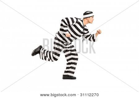 Full length portrait of a prisoner escaping isolated on white background