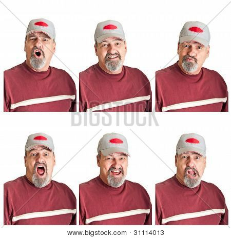Six Different Expressions On Mature Man