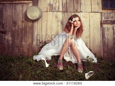 einsame Braut mit ihrer Probleme des Lebens