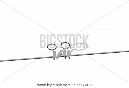 Group of birds sitting on the wire and chatting