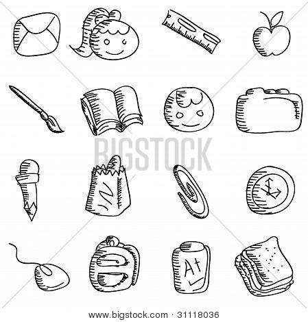 Cartoon Doodles School Icons