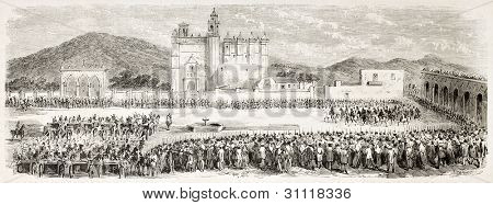 French intervention in Mexico: parade in Acatzingo main square. Created by Gaildrau after Souvigny, published on L'Illustration, Paris, 1863