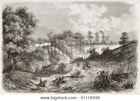 French intervention in Mexico: General Bazaine headquarters (French army) in Molino-del-Medio. Created by Blanchard after Copmartin, published on L'Illustration, Journal Universel, Paris, 1863