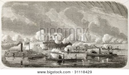 American civil war: Union fleet bombing Fort Sumter in Charleston harbour (South Carolina). Created by Lebreton, published on L'Illustration, Journal Universel, Paris, 1863