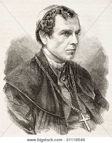 Zygmunt Szczesny Felinski old engraved portrait (Archbishop of Warsaw). Created by Chenu, published on L'Illustration, Journal Universel, Paris, 1863