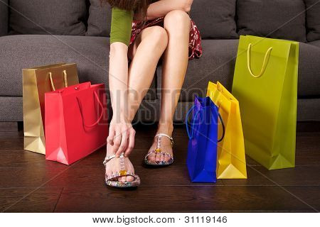 shopping woman dressing shoes