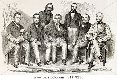 Seven French citizens expelled from Mexico by local government. Created by Janet-Lange, published, on L'Illustration, Journal Universel, Paris, 1863