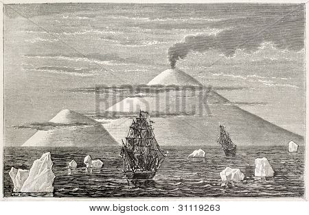 Beaufort island and volcano old view, Antarctica. Created by Sellier and Meunier, published on Magasin Pittoresque, Paris, 1882