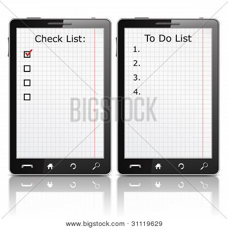 Mobile phone with check list and todo list
