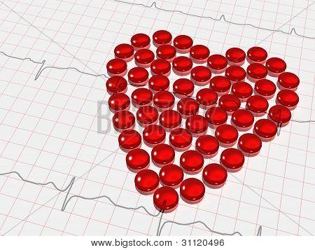 red transparent hearth of capsules