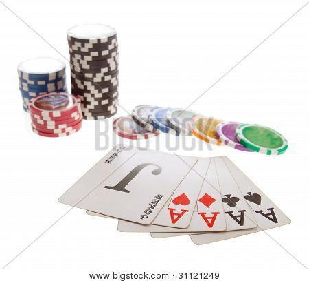 five poker cards and chips