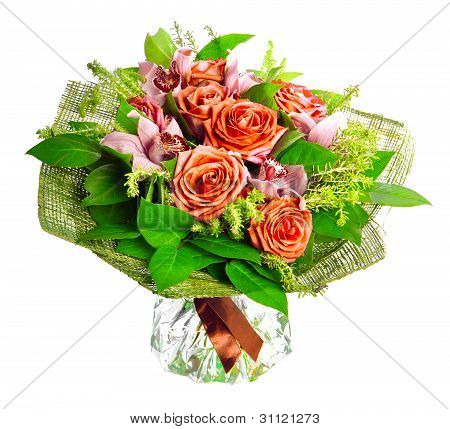 bouquet of lilias and roses