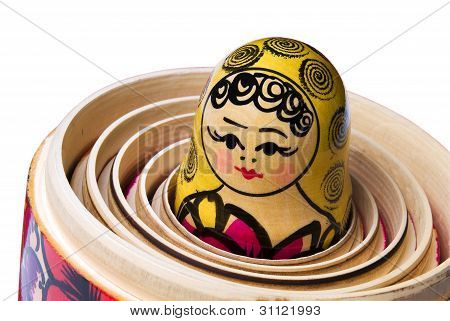 Russian Babushka or Matryoshka Doll inside the other dolls.