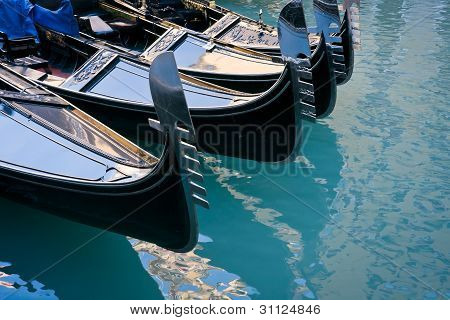 Gondolas Moored At Bacino Orseolo In Venice