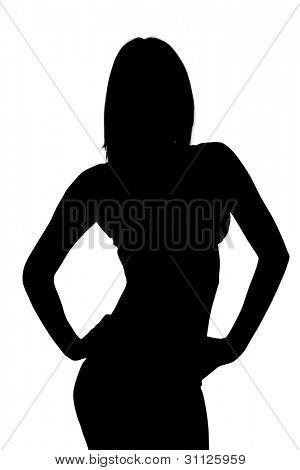 Silhouette of a Sexy Woman Modeling - Image with clipping path