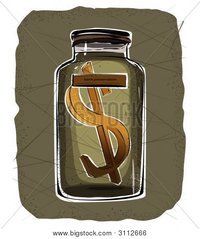 Jar With A Dollar Sign Inside