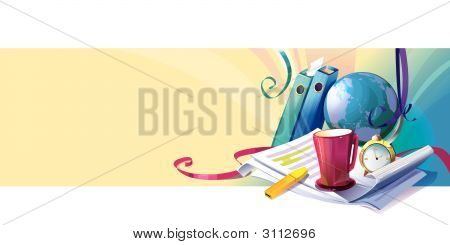 Stationery, Clock, Cup And Globe
