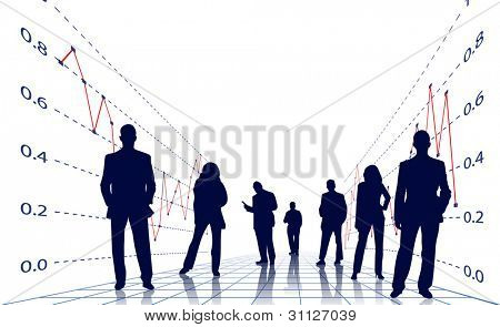 business people with financial statement background