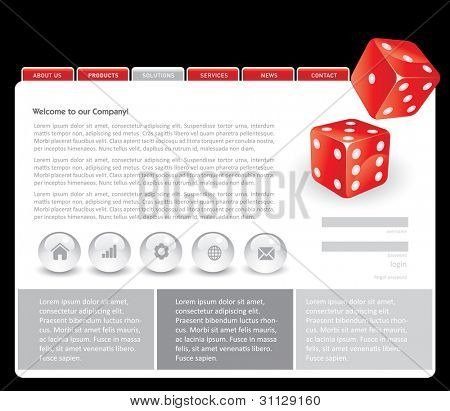 Editable web template with dice
