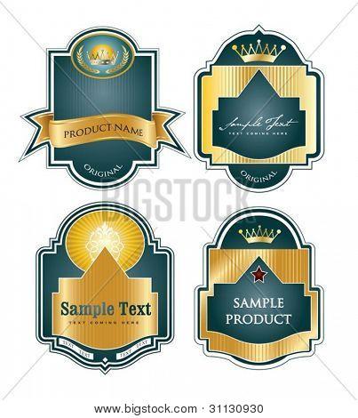 Framed labels set in editable vector format