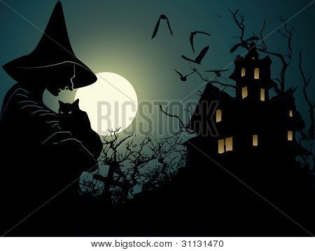 Halloween background with witch and haunted house