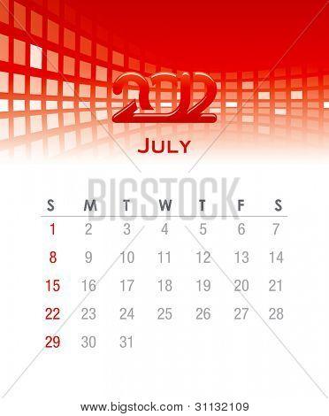 Colorido calendario mensual de vector para 2012 con antecedentes