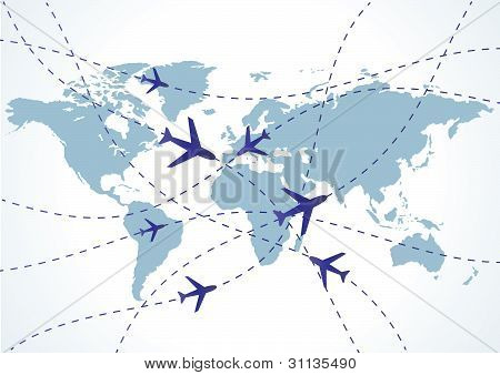World Travel Map With Airplanes. Vector Illustration