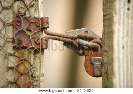 Old Garden Lock And Fence