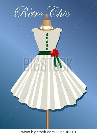 Retro dress with cap sleeves, belt and rose