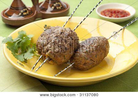 Fresh grilled Moroccan kefta kebab