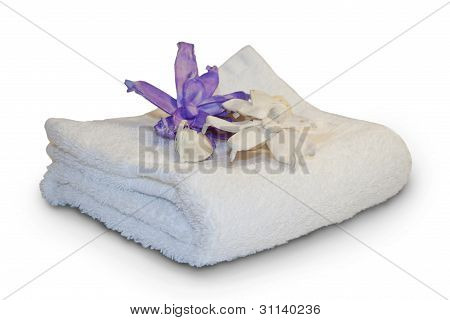 White towel with flowers