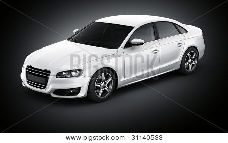 3d rendering of a brandless generic white car of my own design in a studio environemnt