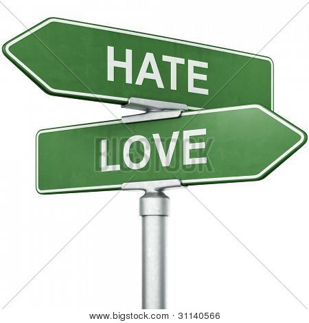 "3d rendering of signs with ""LOVE"" and ""HATE"" pointing in opposite directions"