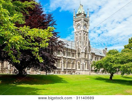 Clocktower of University of Otago Registry Building in  Dunedin, New Zealand