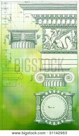 Blueprint - hand draw sketch ionic architectural order & green bokeh background. Bitmap copy my vector