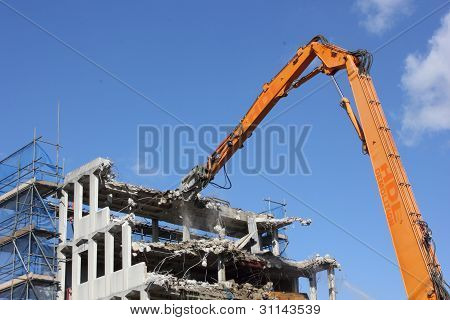 demolishing office building