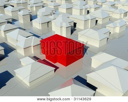 Vista aérea do conjunto de casas