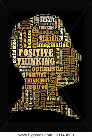 Positive Thinking in word collage