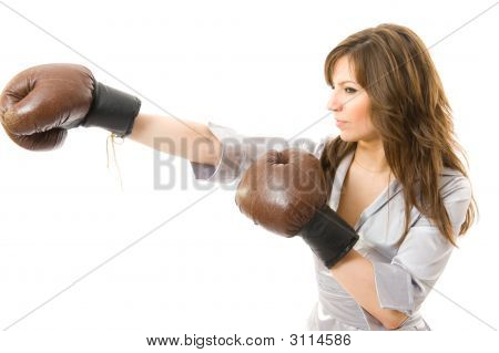 The Young Businesswoman Attacks From Competitors.