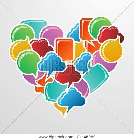 Social Media Bubbles In Love Heart Shape