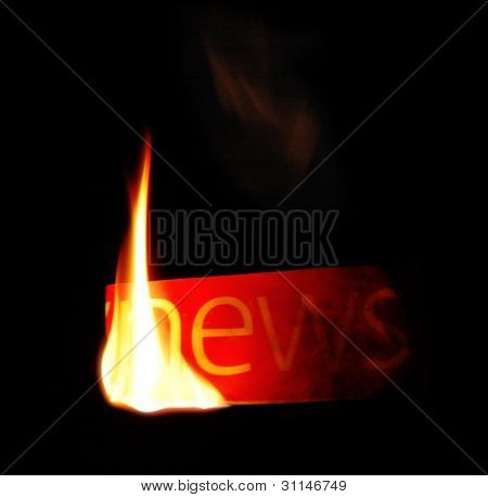 Hot News. Newspaper Fire Text.