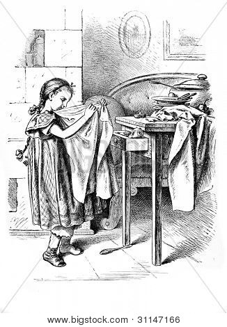 """The little housewife""- engraving by Oscar Pletsch. Published in �«Little Folks�» book, London, 1865"