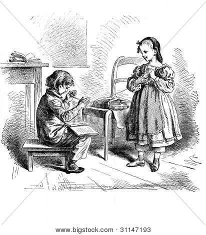 """Obliging"" - engraving by Oscar Pletsch. Published in �«Little Folks�» book, London, 1865"