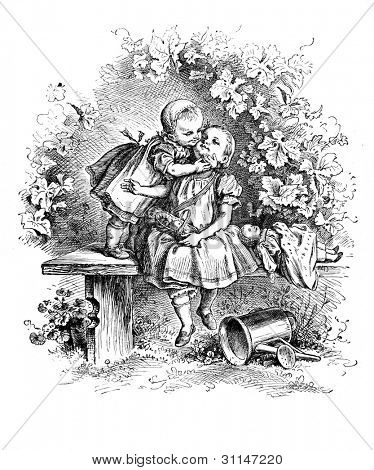 """Loving"" - engraving by Oscar Pletsch. Published in �«Little Folks�» book, London, 1865"