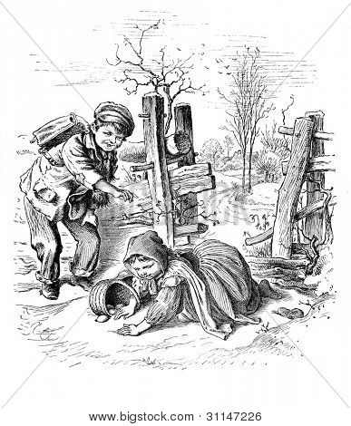 """Mischievous"" - engraving by Oscar Pletsch. Published in �«Little Folks�» book, London, 1865"
