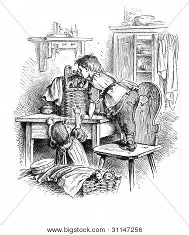 """Curiosity"" - engraving by Oscar Pletsch. Published in �«Little Folks�» book, London, 1865"