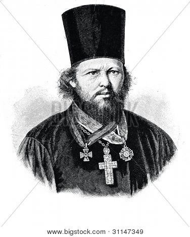 Archpriest Gerasim Pavsky. Engraving by  Neumann. Published in magazine