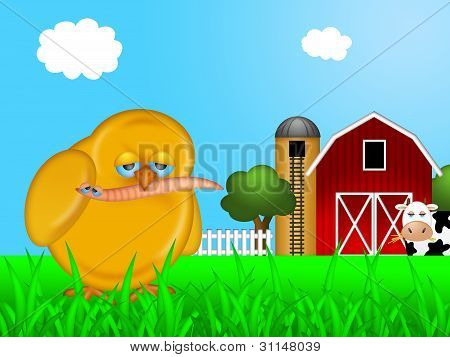Chick Eating Worm In Farm