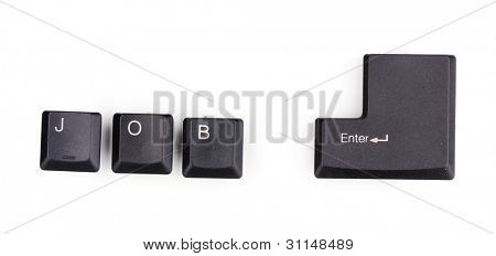 Keyboard keys saying job enter isolated on white